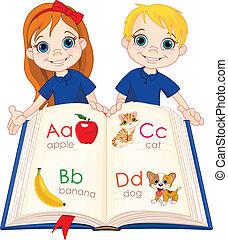 ábécé, könyv, gyerekek, két
