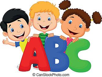 ábécé, karikatúra, gyerekek, izbogis