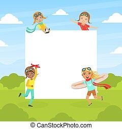 ábrándozás, aviators, birtok, csoport, tiszta, karikatúra, illő, gyerekek, boldog, gyerekek, mosolygós, vektor, transzparens, ábra