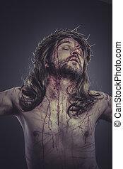ábrázolás, kereszt, tövis, vallás, bizalom, fejtető, krisztus, kálváriadomb, jézus, wounds