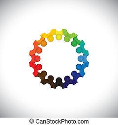 ábrázol, emberek, közösség, gyerekek, találkozó, -, óvoda, is, vector., munkavállaló, karika, színes, játék, ábra, gyerekek, izbogis, grafikus, diákok, ez, együtt, s a többi, konzerv, vagy