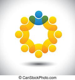 ábrázol, fogalom, ellenőr, elvont, közösség, menedzser, &, -, is, vector., karika, vezető, tagok, vezető, ikon, grafikus, bot, ez, dolgozók, ikonok, vezetés, s a többi, konzerv, befog