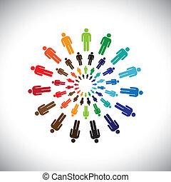 ábrázol, fogalom, emberek, globális, collaborating, egymásra hatók, &, is, más, multi-ethnic, színes, társadalmi, közösség, circles., grafikus, ez, brigád, vektor, konzerv, mindegyik, találkozik, vagy