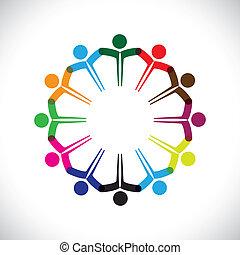ábrázol, fogalom, emberek, graphic-, csapatmunka, együtt., gyerekek, &, is, egység, munkavállaló, hálózat, játék, változatosság, ábra, gyűlés, kézbesít, gyerekek, ez, ikonok, s a többi, vektor, konzerv, vagy