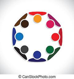 ábrázol, fogalom, emberek, graphic., interaction-, munkás, is, munkavállaló, karikák, változatosság, színes, ábra, egység, gyűlés, gyerekek, ez, együtt, játék, s a többi, vektor, konzerv, vagy
