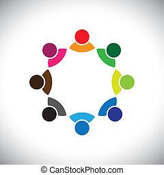 ábrázol, fogalom, végrehajtó, gyerekek, csoport, is, munkavállaló, gyűlés, konzerv, group., színes, vita, grafikus, ez, együtt, játék, s a többi, vektor, multi-ethnic, befog, egyesített, vagy