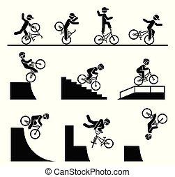 ábrázol, forma, ábra, bicycle., pictograms, akrobatika