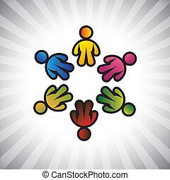 ábrázol, &, gyerekek, graphic-, circle., fogalom, osztozás, közösség, fogalom, gyerekek, vektor, játék, munkavállaló, szeret, színes, kapcsolódások, ábra, icons(symbols), barátság, s a többi, is, vagy, konzerv