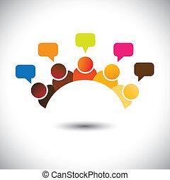 ábrázol, találkozó, csoport, hivatal, s a többi, ez, graphic., ábra, csapatmunka, rohamozó, vektor, agyonüt, konzerv, tagok, megbeszélések, executives(employees), opinions-, airing, nézetek, bot