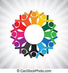 ábrázol, változatosság, egyszerű, graphic., gyerekek, bot, egyesült, is, birtok, munkavállaló, karika, boldog, collaborative, ábra, gyűlés, hands-, munkás, ez, vagy, s a többi, vektor, konzerv, játék, igazgatók