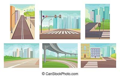 ábra, állhatatos, városi, autópálya, közútak, vektor