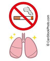 ábra, abbahagy, cigaretta, lakás, vektor, dohányzó, concept., tüdő