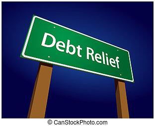 ábra, aláír, vektor, zöld, megkönnyebbülés, adósság, út