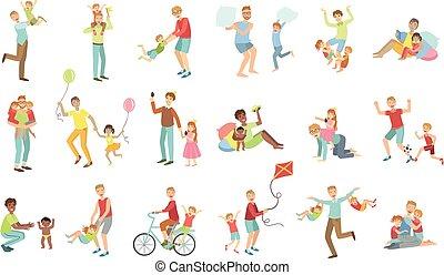 ábra, apák, gyerekek, állhatatos, játék