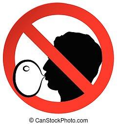 ábra, böllér, nem, jelkép, gumi, aláír, dolgozat, vektor, tiltott, ellen, fújás, rágás, buborék
