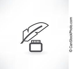 ábra, calligraphic, akol, vektor, levél, tinta, tollazat