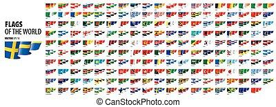 ábra, countries., nemzeti, vektor, zászlók, white háttér