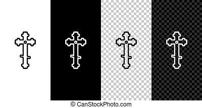 ábra, cross., keresztény, ikon, állhatatos, kereszt, háttér., egyenes, elszigetelt, fehér, fekete, templom, vektor
