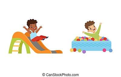 ábra, csúszás, gyerekek, móka, pocsolya, karikatúra, gyerekek, birtoklás, játszótér, játék, vektor, herék, kevés, lefelé, színes, állhatatos, csúszó