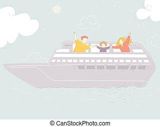 ábra, család, cirkálás, elgáncsol, hajó