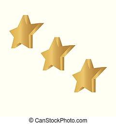ábra, csillag, icon-, isometric, vektor, arany-