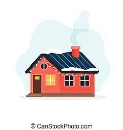 ábra, díszes, csinos, lights., lakás, mód, épület, vektor, tél