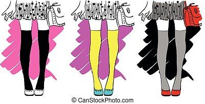 ábra, elegáns, dots., divatba jövő, vektor, állhatatos, alj, mód, rajz, combok, leány, polka