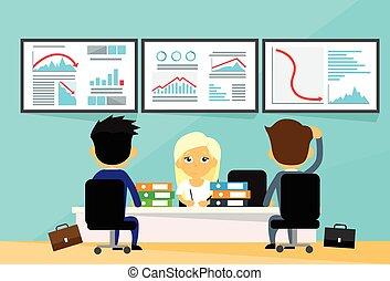 ábra, emberek, pénzel, irányvonal, kereskedő, ügy, anyagi, lefelé, krízis, számítógépek, hivatal, bukás, negatív, íróasztal