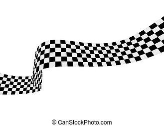 ábra, fehér, tarka, ribbon., lobogó, vektor, versenyzés