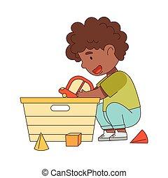 ábra, fiú, boldog, vektor, játék, apró, gyermekszoba