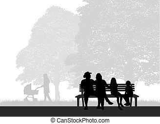 ábra, fogalmi, pihenés, külső, emberek, silhouettes.
