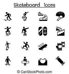 ábra, gördeszka, tervezés, grafikus, ikon, állhatatos, vektor