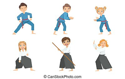 ábra, gyerekek, egyenruha, fiú, rajzóra, harcias, csinos, lány, gyakorló, aikido, cselgáncs, vektor