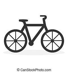 ábra, háttér., icon., bicikli, fehér, elszigetelt, lakás, vektor
