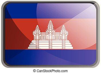 ábra, háttér., lobogó, vektor, kambodzsa, fehér