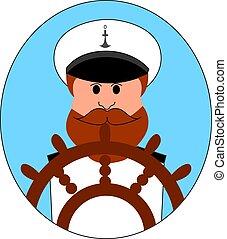 ábra, háttér., vektor, fehér, kapitány, hajó