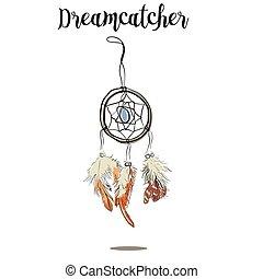 ábra, hagyományos, etnikai, jelkép., hand-drawn, feathers., amerikai, törzsi, dreamcatcher, indiánok, theme., törzsi, tinta