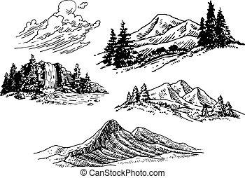 ábra, hand-drawn, hegy
