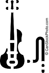 ábra, hegedű, elektromos, vektor, ikon, fekete, glyph