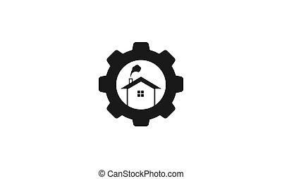 ábra, ikon, grafikus, szolgáltatás, bekapcsol, saját épület, jel, vagy, tervezés, vektor, jelkép