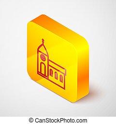ábra, ikon, háttér., épület, keresztény, szürke, vallás, elszigetelt, templom, church., sárga egyenesen, isometric, button., egyenes, vektor