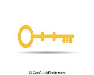 ábra, ikon, vektor, kulcs