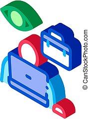 ábra, ikon, vektor, munkavállaló, isometric, ellenőrzés
