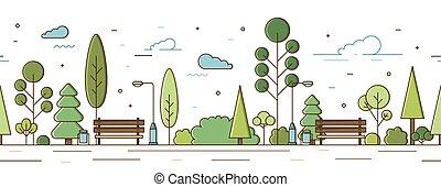 ábra, infrastruktúra, modern, utca, állás, bitófák, vagy, motívum, egyenes, horizontális, város láng, kutyát kiállít, liget, style., bokrok, üres, seamless, kert, szórakozási, vektor, általános rajzóra