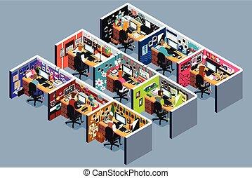 ábra, isometric, alkóvok, hivatal, ügy