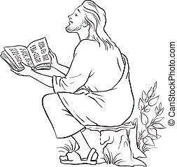 ábra, jézus, vektor, fekete, fehér, felolvasás, bible.