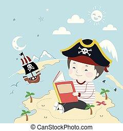 ábra, kalóz, hajó, fiú, könyv, sziget, kölyök