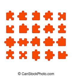 ábra, kapcsolatok, darabok, shapes., vektor, állhatatos, különböző, rejtvény, gyűjtés, ikon, lombfűrész