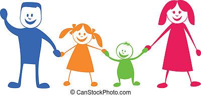 ábra, karikatúra, family., boldog