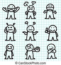 ábra, karikatúra, paper., érzelem